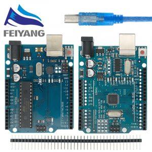 Carte de développement UNO R3 CH340 CH340G pour Arduino, avec tête à broche droite avec câble