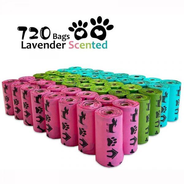 Pet N Pet Biodegradable Dog Poop Bags Earth-Friendly 18/48 Rolls 270/720 Counts 3 Colors Lavender Scented Garbage Bag