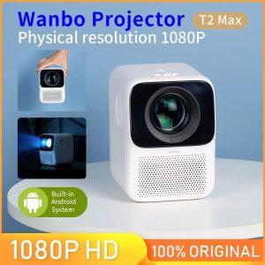 Wanbo – Mini projecteur Vertical T2 MAX, 1080P, 1920x1080P, Correction de la distorsion trapézoïdale pour le bureau et le domicile, Version globale