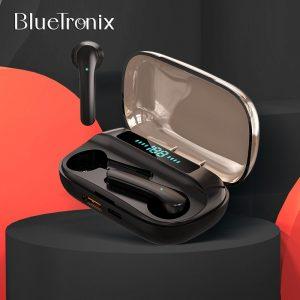 BlueTronix – écouteurs sans fil Bluetooth K12 TWS, étanches, à commande tactile, avec alimentation Portable