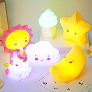 2021 Cute unicorn Cloud Star Moon Appease Glow Night Light Feeding Light Baby Sleeping child Toy Kids for birthday present gift