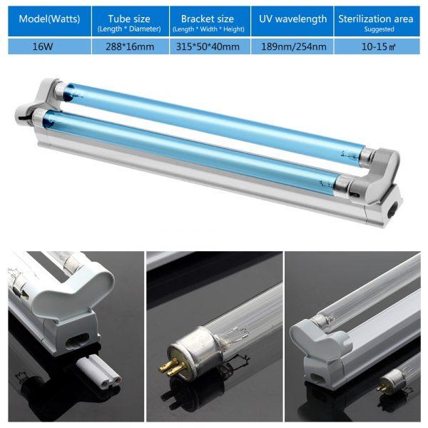 Ultraviolet Germicidal Light T5 Double Tube 16W UVC UVD Sterilizer lamp Ozone Generator Disinfection Deodor Bar Tube