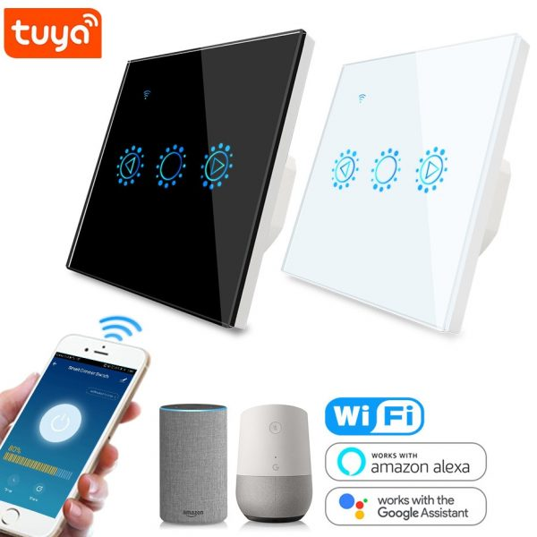 Tuya Smart Life LED Dimmer Switch WiFi Smart Light Touch Switch Dimming Compatible Alexa Google Home Dimmable 110V 220V US EU UK