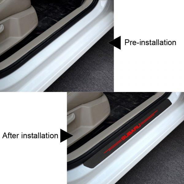 4pcs Auto Outer Door Sill Protector Pedal Scuff Plate Carbon fiber stickers for Subaru Impreza Forester Tribeca XV Accessories