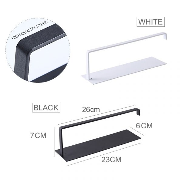 Mosodo Non Perforated Paper Towel Holder Toilet Paper Hanger Roll Paper Holder Fresh Film Storage Rack Wall Hanging Shelf