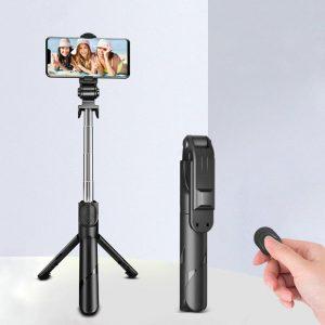 Perche à Selfie Bluetooth sans fil 3 en 1, Mini trépied extensible monopode avec télécommande pour iPhone IOS Android