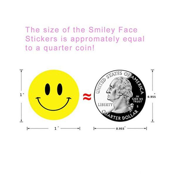 Rouleau à stickers motif visage smiley jeu pour enfant, autocollants récompenses jaunes, sourire joyeux, 500 pièces par unité,
