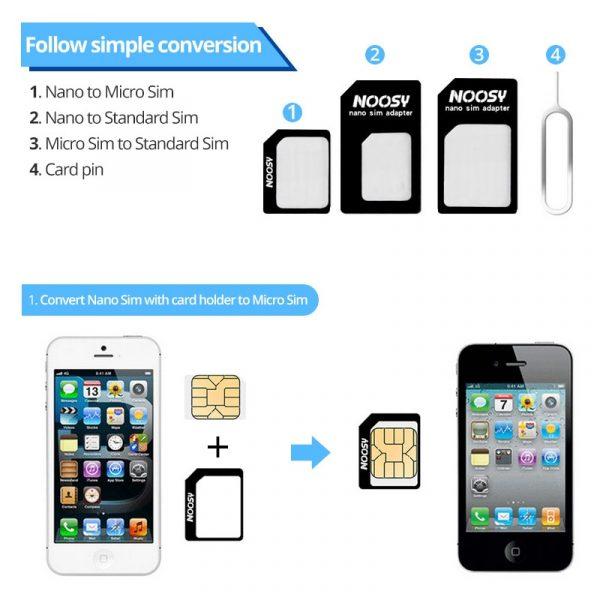 Adaptateur de carte Sim 4 en 1, kit avec broche de carte, plateau de carte Micro Sim Standard pour convertisseur de carte Nano sim, fermeture parfaite, fente sim