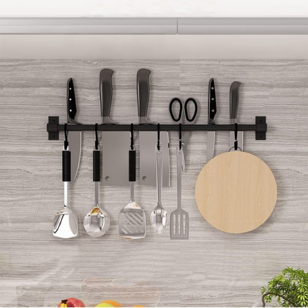 Black Kitchen Hook Rack Wall Mounted Pantry Tool Holder Kitchen Shelf Aluminum Pantry Bar for Kitchenware Utensil Storage Rack