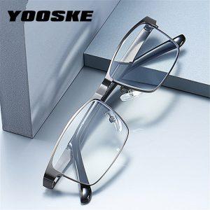 YOOSKE – lunettes de lecture d'affaires en acier inoxydable pour homme, verres optiques pour presbytes + 1.0 1.5 2.0 2.5 3 3.5 4.0