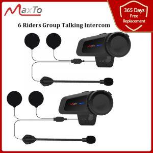 MAXTO M2 Motorcycle Helmet Headset 6 Riders Group Talking Intercom Bluetooth 5.0 FM Radio Compatible with Any Headphone Earphone