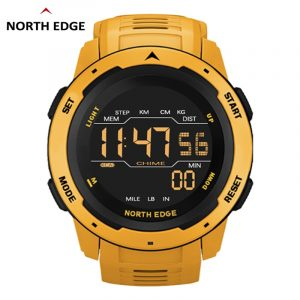 NORTH EDGE Men Digital Watch Men's Sports Watches Dual Time Pedometer Alarm Clock Waterproof 50M Digital Watch Military Clock