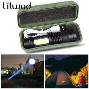 Newest Design XP-G Q5 Built in Battery USB Charging Flashlight COB LED Zoomable Waterproof Tactical Torch Lamp LED Bulbs Litwod