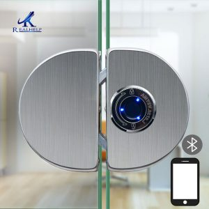 304 Stainless Steel Fingerprint Glass Door Lock Built in Rechargeable Battery No Drill Biometric Bluetooth APP Fingerprint Lock