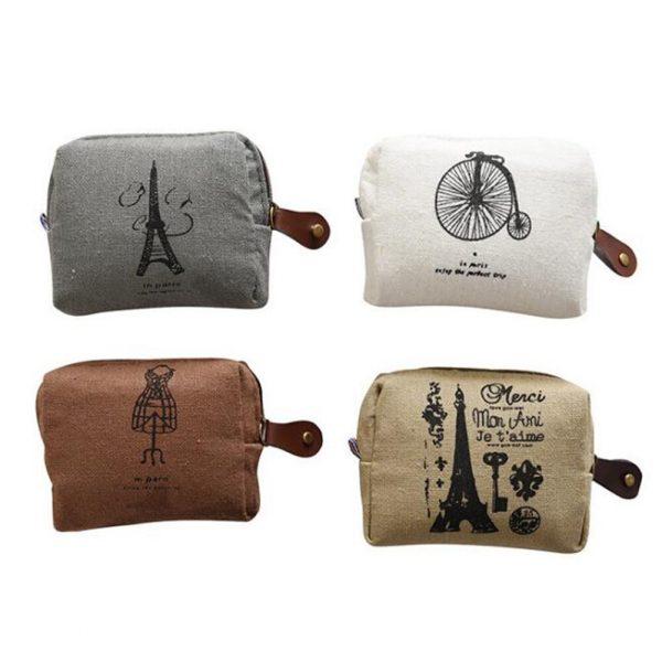 Vintage Classique Femmes Homme Toile Porte-Monnaie Portefeuille Zippé Petit Mini Sac Support De Pochette Rétro Argent Sacs Cadeau
