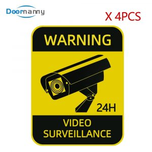 Doornanny 4pcs CCTV Waterproof Sunscreen Warning Signs Video Surveillance Alarm Stickers Strong Self-adhesive Orignal Design
