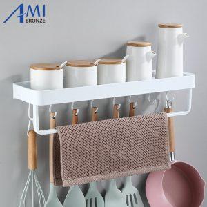 Black Space Aluminum Kitchen Shelf Bathroom Rack Single Tier Shelf Shampoo Shelf Balcony Rack