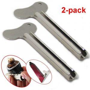 Presse à dentifrice en acier inoxydable, 2 pièces, accessoires de salle de bain, nettoyant pour le visage, Tube à rouler, distributeur