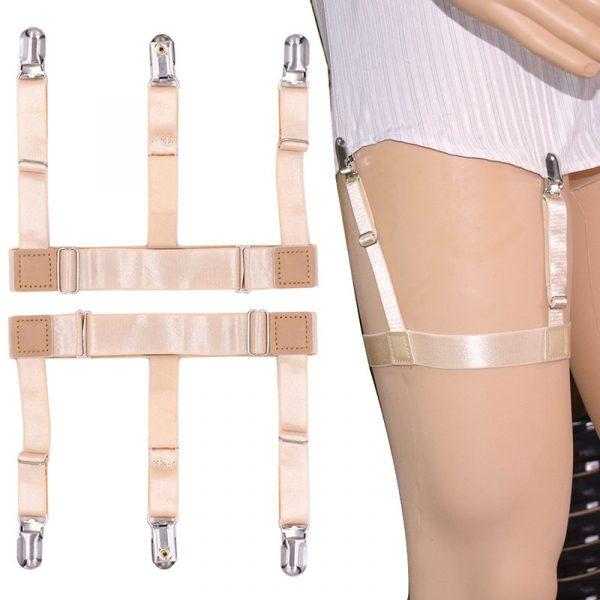 2 pièces hommes chemise reste ceinture avec Clips de verrouillage antidérapants garder chemise niché jambe cuisse jarretelles jarretelles sangle LL @ 17