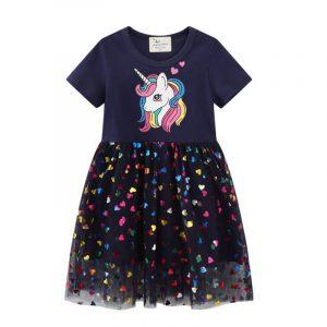 Robe de soirée Tutu de princesse pour filles, imprimé licorne, cadeau d'anniversaire, Costume en maille pour enfants, offre spéciale