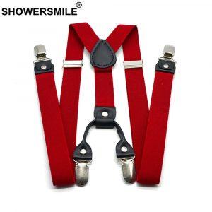 Shower smile – bretelles pour pantalon rouge classique pour homme, dos en Y, 120cm, rétro, 4 Clips, ceinture élastique