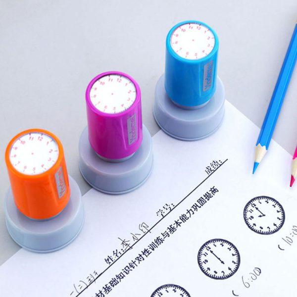 Sceau d'apprentissage et de reconnaissance pour enseignant, 1 pièce, horloge, cadran, timbres, école primaire, jouets pour enfants, diamètre 30mm, nouveau
