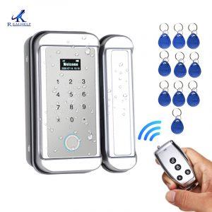 Outdoor waterproof fingerprint lock glass door wiring free password remote control lock single door office intelligent access