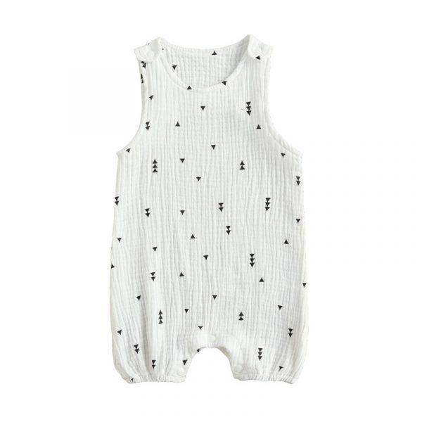Barboteuse d'été en coton et lin pour bébés garçons et filles, combinaison sans manches pour nouveau-né, imprimé Cactus