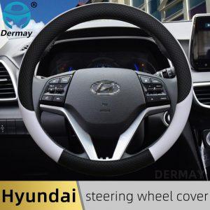100% DERMAY Brand Leather Car Steering Wheel Cover Anti-slip for Hyundai i30 kona i10 i35 elantra santa fe Auto Accessories