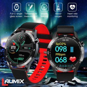 Montre connectée, moniteur d'activité physique, avec moniteur de fréquence cardiaque et d'oxygène dans le sang, oxymètre de pouls et de pression artérielle, mesure de la température