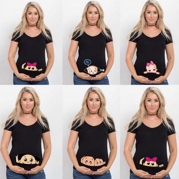 T-shirt à manches courtes avec imprimé de dessin animé pour femme enceinte,haut de maternité de grande taille, collection été, offre spéciale,
