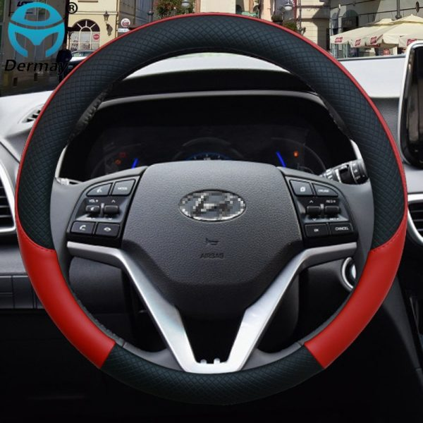 100% DERMAY Brand Leather Car Steering Wheel Cover Anti-slip for Hyundai i30 kona i10 i35 elantra santa fe Auto Accessories