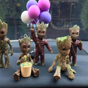 Car Interior Decoration Personality Groot Action Figure Sitting Model Anime Mini Doll Car Goods Interior Decoration Accessories