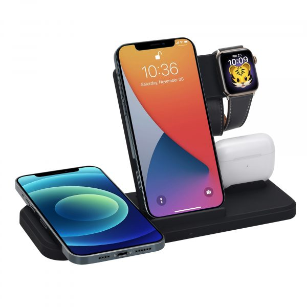 Labobbon 15W Qi Fast Wireless Charger Stand For iPhone 12 11 XR X 8 iWatch 4 in 1 Foldable Charging Dock Station for Airpods Pro