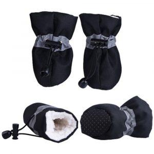 4pcs/set Pet Winter Warm Soft Cashmere Anti-skid Rain Shoes For Dog Pet Windproof Soft Footwear Anti-slip Waterproof Shoes
