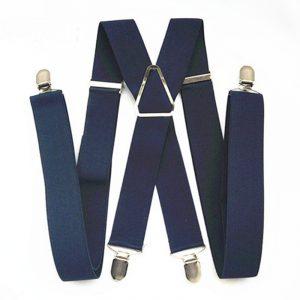 Bretelles réglables élastiques pour hommes et femmes, pantalon à pinces de 55 pouces, taille XXL, bleu marine