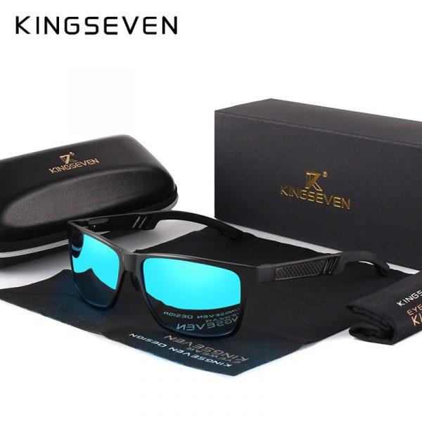 KINGSEVEN — Lunettes de soleil polarisées en aluminium magnésium, Pour la conduite, lunettes rectangulaires pour hommes Oculos masculino masculin