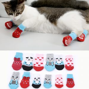 4pcs Pet Dog Puppy Cat Shoes Slippers Non-Slip Socks Pet Cute Indoor for Small Dogs Cats Snow Boots Socks pet supplies