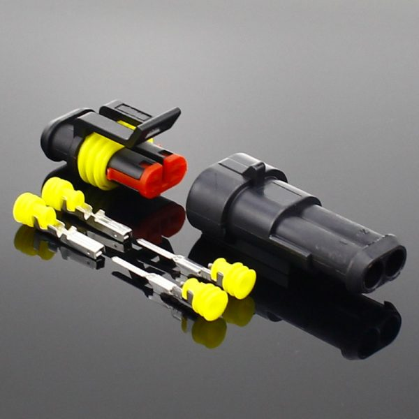 2-5sets Kit 2 pin 1/2/3/4/5/6 pins Way AMP Super seal Waterproof Electrical Wire Connector Plug for car waterproof connector