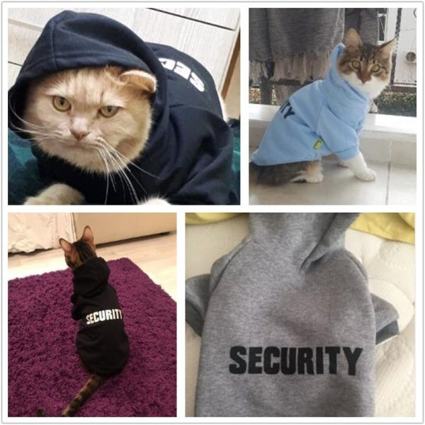 Security Cat Clothes Pet Cat Coats Jacket Hoodies For Cats Outfit Warm Pet Clothing Rabbit Animals Pet Costume for Dogs 30