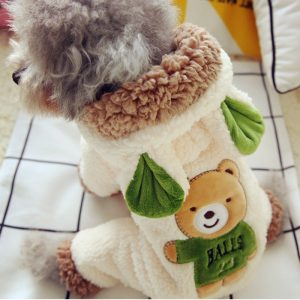 New Funny Dog Costume Cute Bear Dinosaur Soft Winter Warm Pet Coat Overall Four Legs Clothing For Little Small Puppy Animal