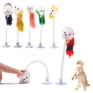 Random Colour Plastic Cat Toys Feather Funny Cat Mice Shape 20 x 10cm False Mouse Pet Products Bottom Sucker Elastic 1PC