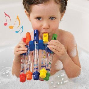 Jouet de flûte d'eau colorée pour enfants, 1 pièce, flûtes d'eau colorées pour baignoire, musique amusante, sons, jouet de bain pour fête prénatale QS6253