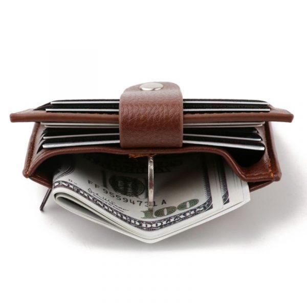 Sac à cartes de crédit pour hommes d'affaires, avec fermeture éclair et loquet, porte-monnaie multifonction en cuir PU de haute qualité, porte-monnaie et pièces d'identité, 2020