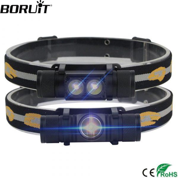 BORUiT XM-L2 LED Mini Headlamp High Power 1000lm Headlight 18650 Rechargeable Head Torch Camping Hunting Waterproof Flashlight