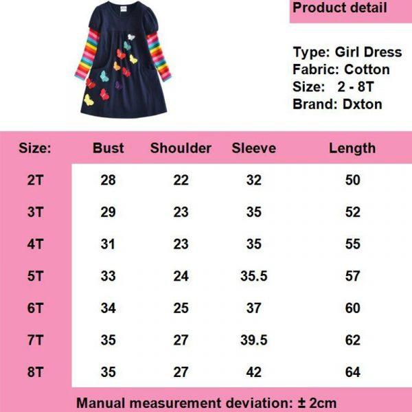 DXTON – Robe d'hiver pour fille, à manches longues, en coton, pour enfants de 2-8 ans, nouvelle collection 2018
