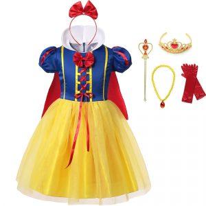 Robe blanche-neige pour filles, Costume de princesse pour enfants, tenue fantaisie de fête d'halloween pour anniversaire, robe + cape de Cosplay