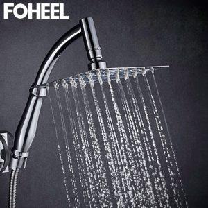 FOHEEL 6 and 8 inch shower head stainless steel shower head water saving bathroom rain spa square handheld shower head
