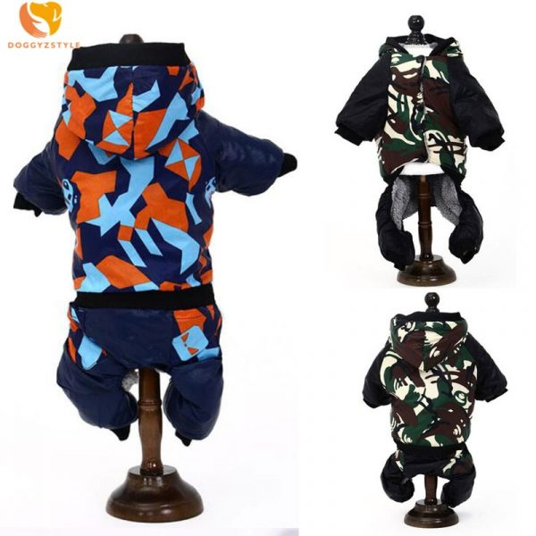 Pet Dog Camouflage Jumpsuit Rompers Hooded Cat Puppy Animal Cotton Coat Pants Winter Clothes Perro Mascota S-XXL DOGGYZSTYLE