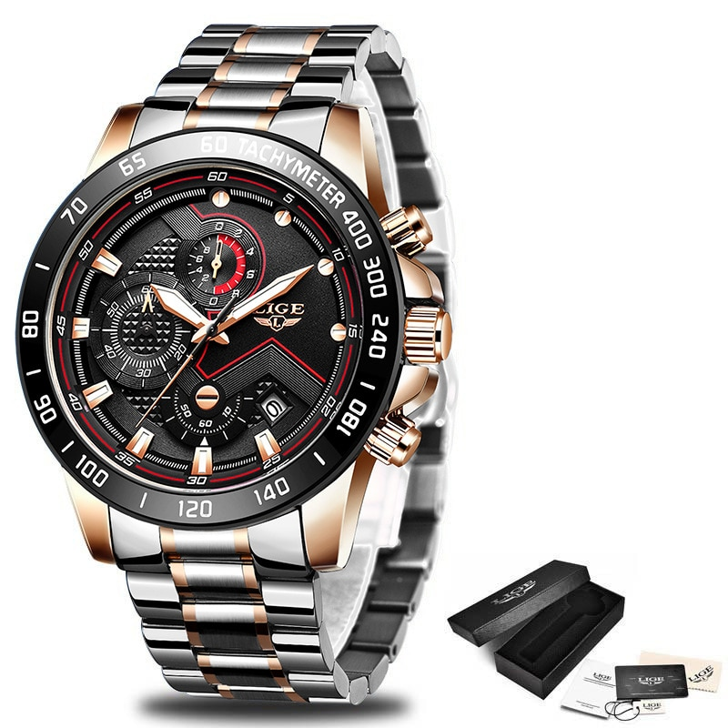 Relogio Masculino 2020 New Watches Men Luxury Brand LIGE Chronograph Men Sports Watches Waterproof Full Steel Quartz Men's Watch